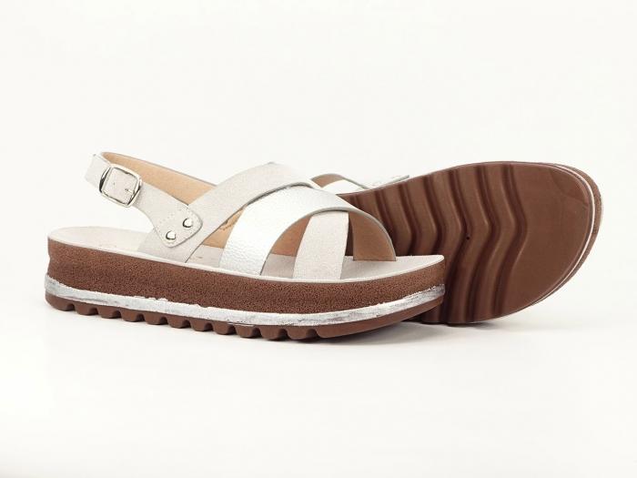 Sandale dama arginti cu talpa joasa Sorento 3
