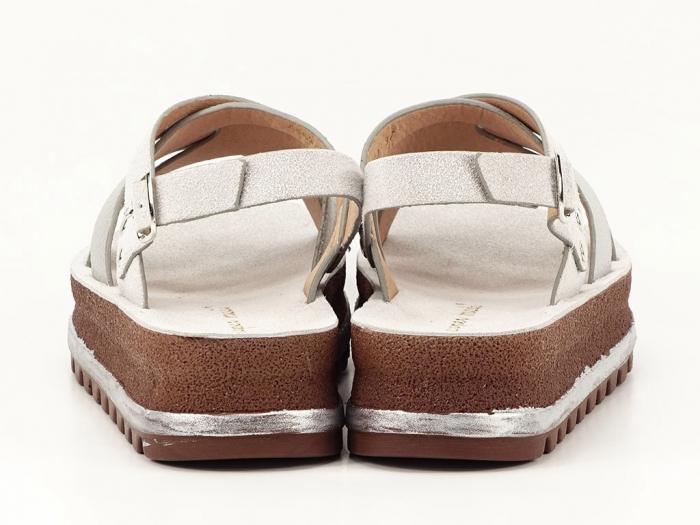 Sandale dama arginti cu talpa joasa Sorento 5