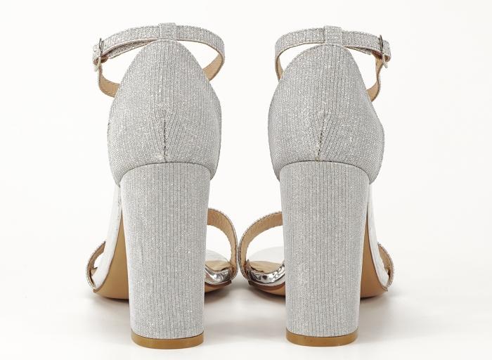 Sandale dama argintii cu fire scipicioase Caprice cu toc inalt 2