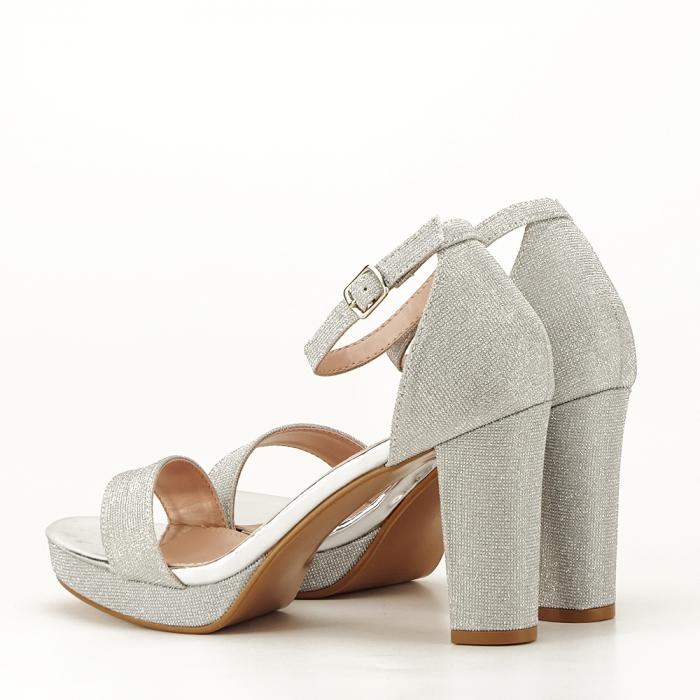 Sandale argintii cu toc gros Celin [2]