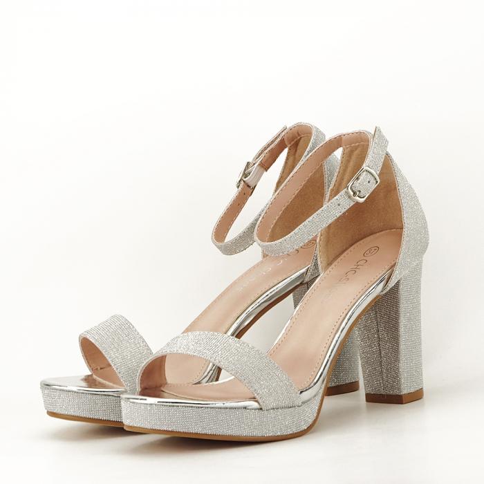 Sandale argintii cu toc gros Celin [1]