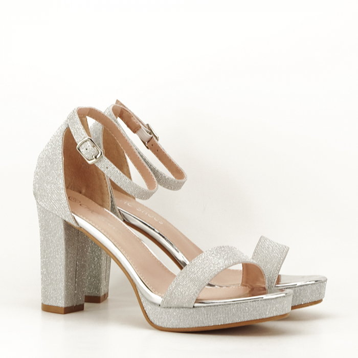 Sandale argintii cu toc gros Celin [7]