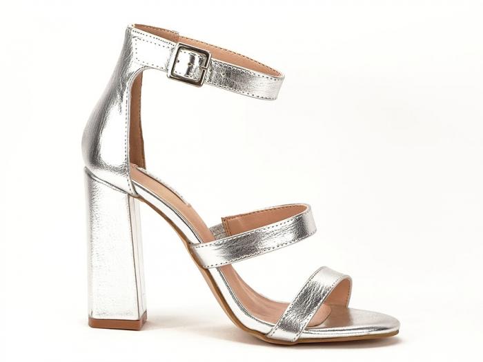 Sandale argintii cu toc gros Evelina 0