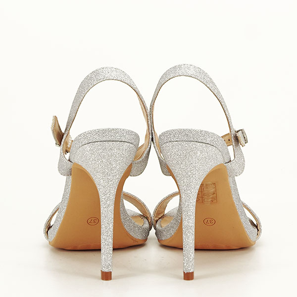 Sandale argintii cu toc inalt Mia [5]
