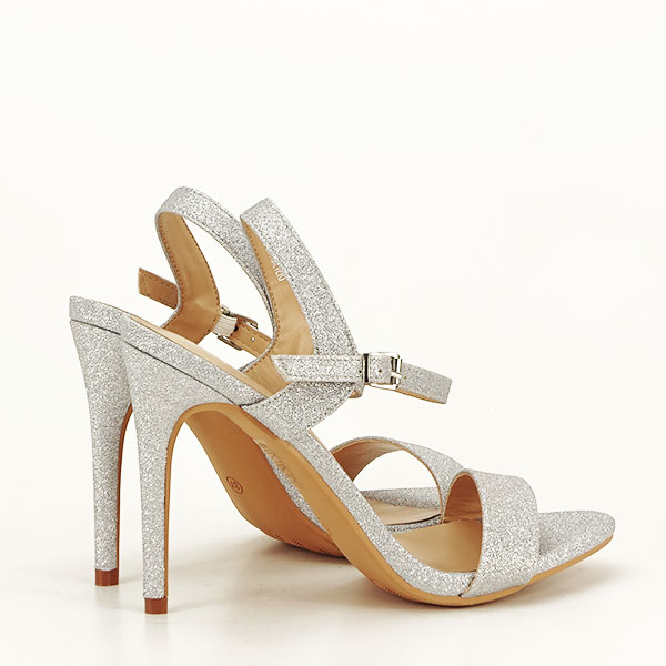 Sandale argintii cu toc inalt Mia [4]