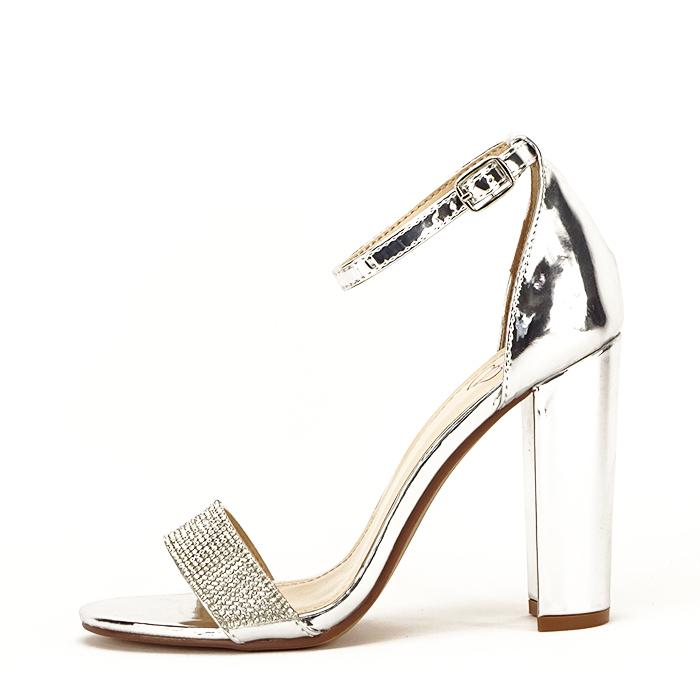 Sandale argintii cu toc gros Diana [0]