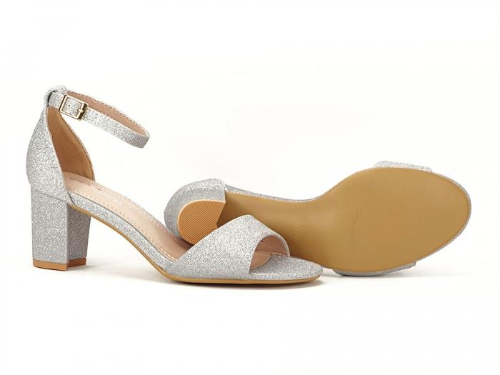 Sandale argintii suflate cu sclipici cu toc mic Alma 5