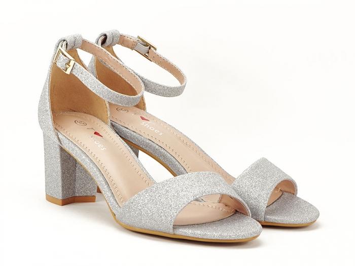 Sandale argintii suflate cu sclipici cu toc mic Alma 1