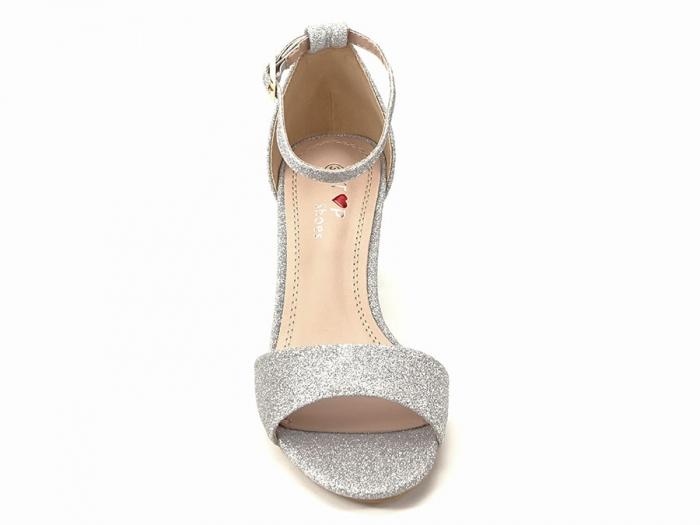 Sandale argintii suflate cu sclipici cu toc mic Alma 3