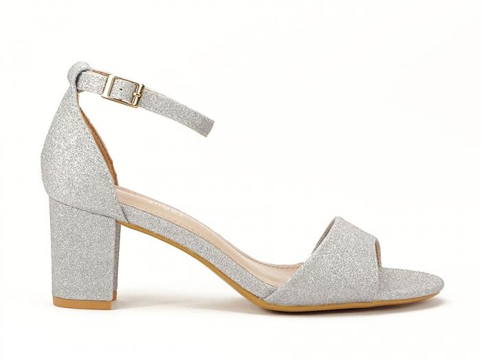 Sandale argintii suflate cu sclipici cu toc mic Alma 0