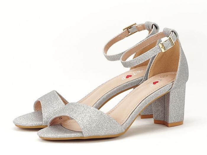 Sandale argintii suflate cu sclipici cu toc mic Alma 2