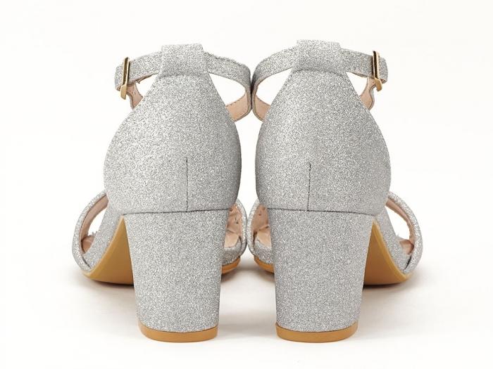 Sandale argintii suflate cu sclipici cu toc mic Alma 4