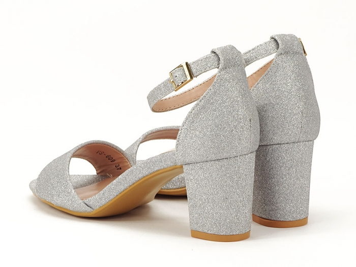 Sandale argintii suflate cu sclipici cu toc mic Alma 6