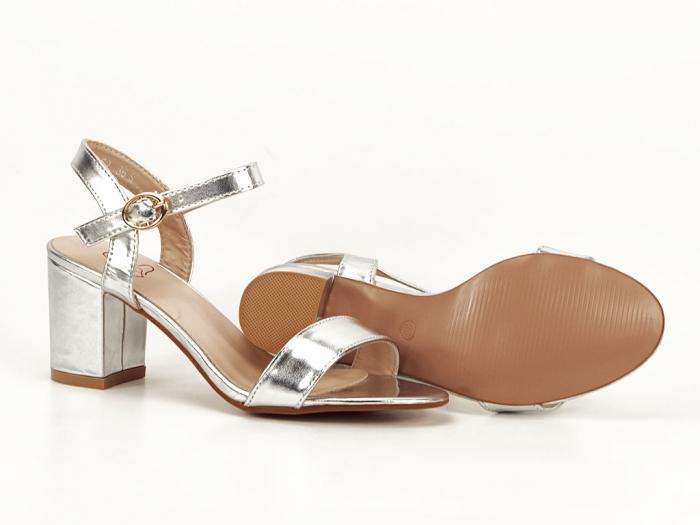 Sandale dama argintii cu toc mic Euforia