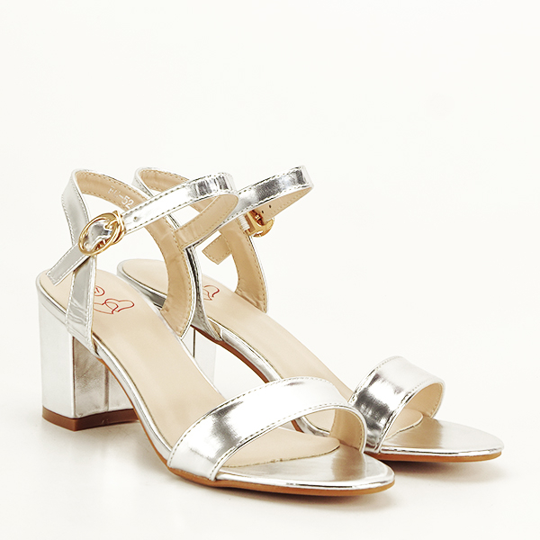 Sandale argintii cu toc Mira [3]