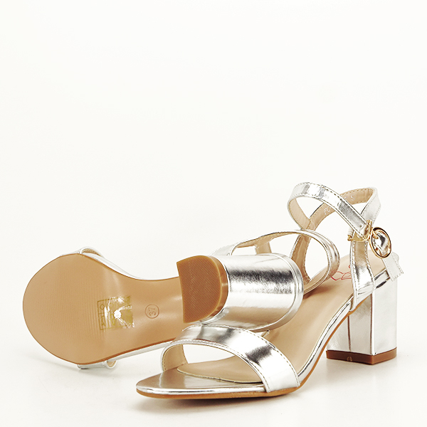 Sandale argintii cu toc Mira [7]