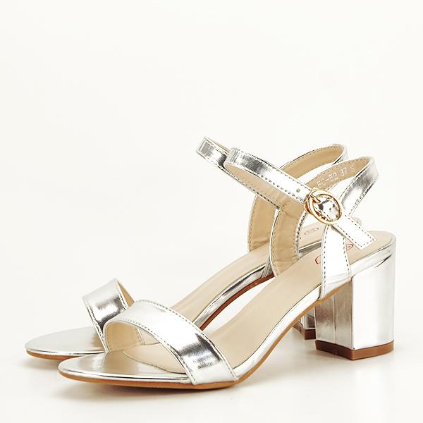 Sandale argintii cu toc Mira [2]