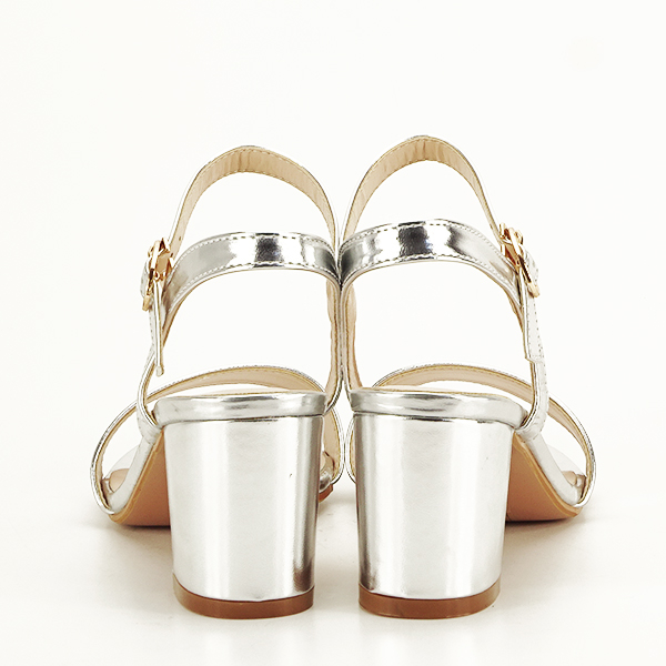 Sandale argintii cu toc Mira [6]