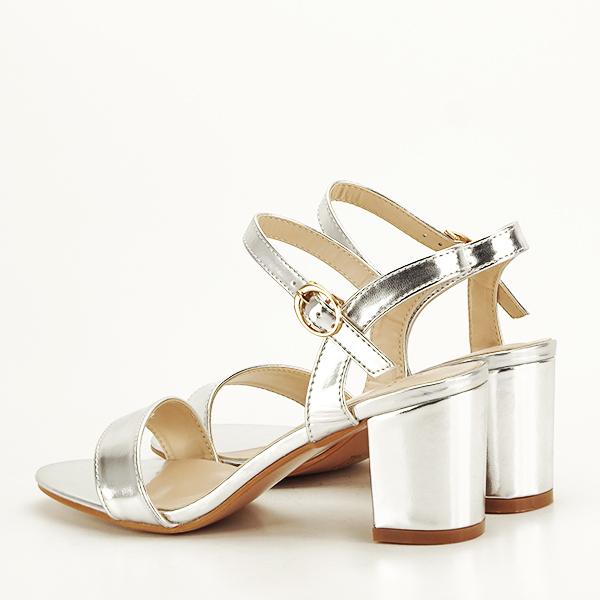 Sandale argintii cu toc Mira [4]