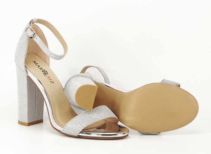Sandale dama argintii cu fire scipicioase Caprice cu toc inalt 4