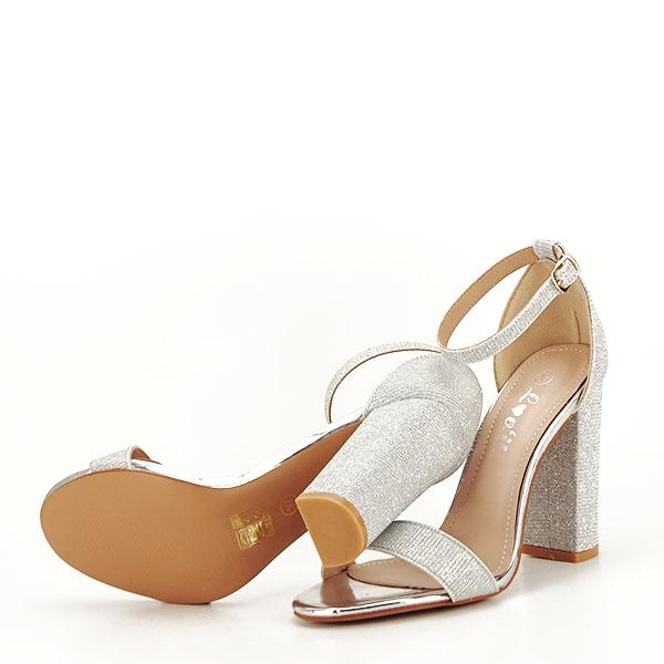 Sandale argintii elegante cu sclipici Simona [7]