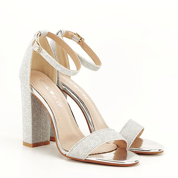 Sandale argintii elegante cu sclipici Simona [3]