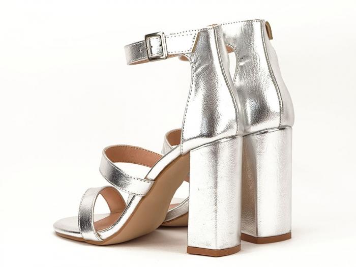 Sandale argintii cu toc gros Evelina 2