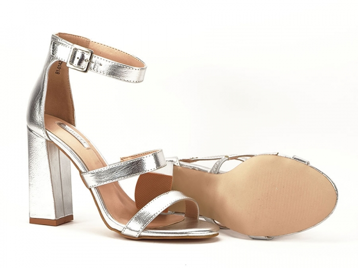 Sandale argintii cu toc gros Evelina 6
