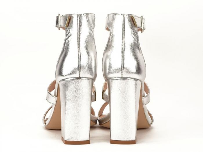 Sandale argintii cu toc gros Evelina 4