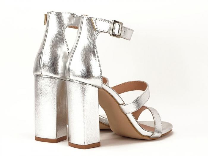 Sandale argintii cu toc gros Evelina 7