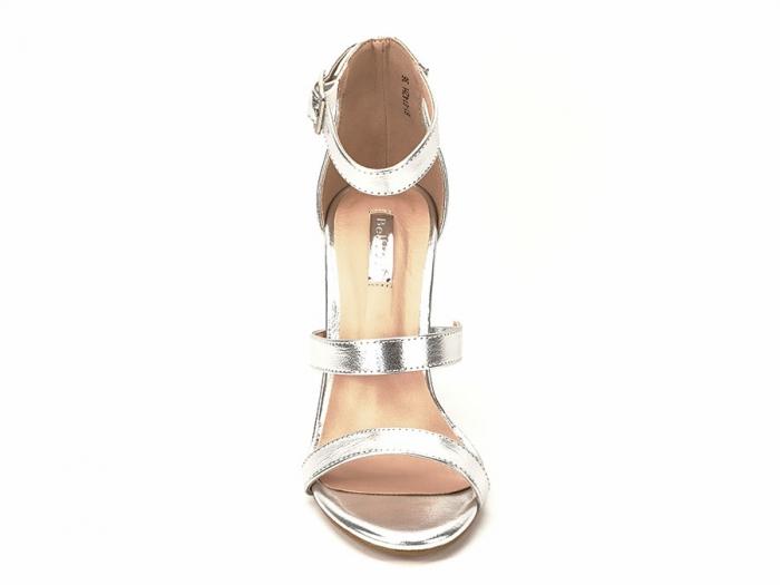 Sandale argintii cu toc gros Evelina 5