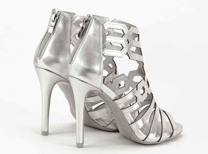 Sandale argintii elegante cu toc inalt Serena 5