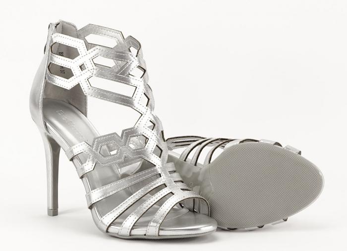Sandale argintii elegante cu toc inalt Serena 3