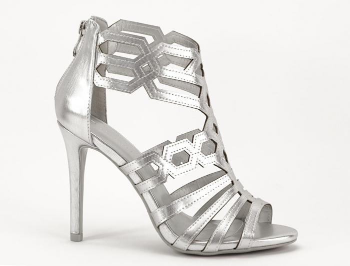 Sandale argintii elegante cu toc inalt Serena 1