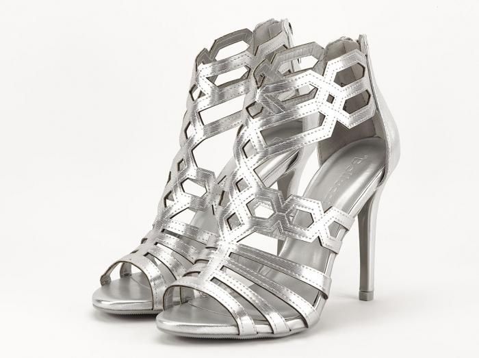 Sandale argintii elegante cu toc inalt Serena 0