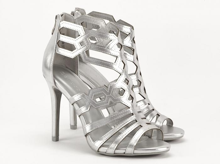 Sandale argintii elegante cu toc inalt Serena 2