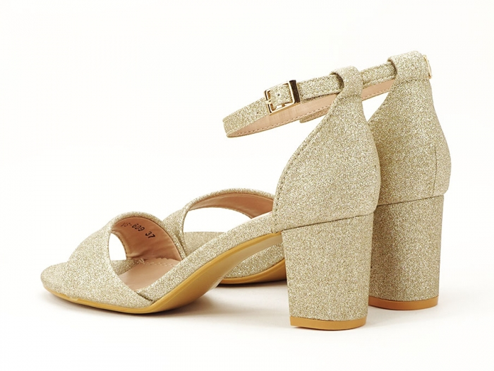 Sandale aurii cu toc mic suflat cu sclipici Alma 5