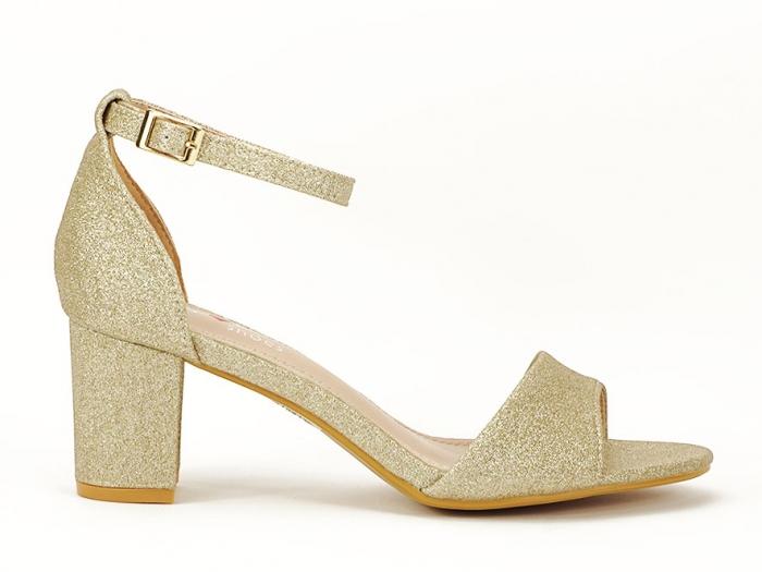 Sandale aurii cu toc mic suflat cu sclipici Alma 0