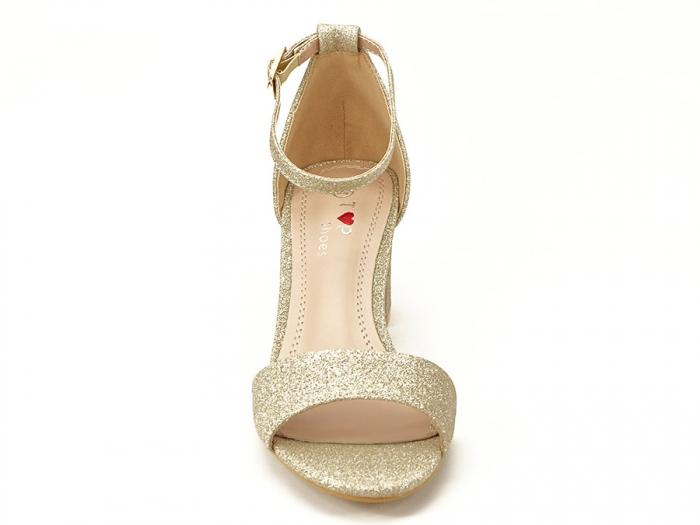 Sandale aurii cu toc mic suflat cu sclipici Alma 4
