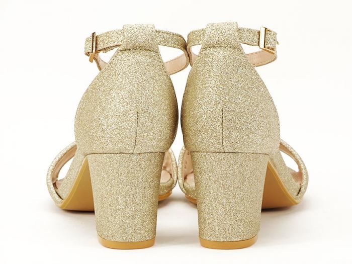 Sandale aurii cu toc mic suflat cu sclipici Alma 2