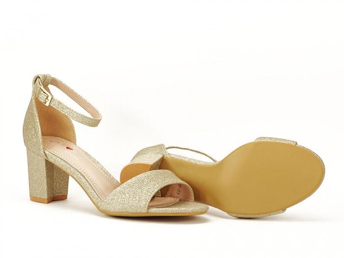 Sandale aurii cu toc mic suflat cu sclipici Alma 6