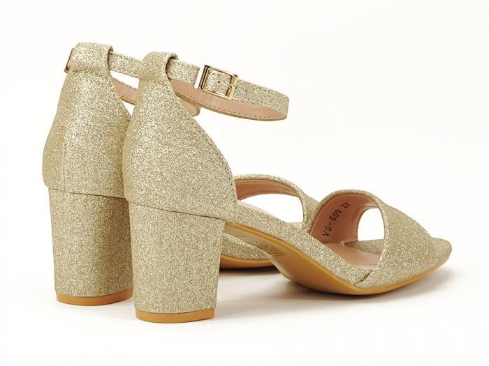 Sandale aurii cu toc mic suflat cu sclipici Alma 3