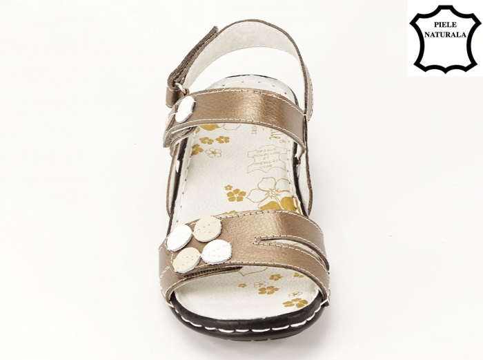Sandale aurii cu talpa ortopedica din piele naturala Angi 2