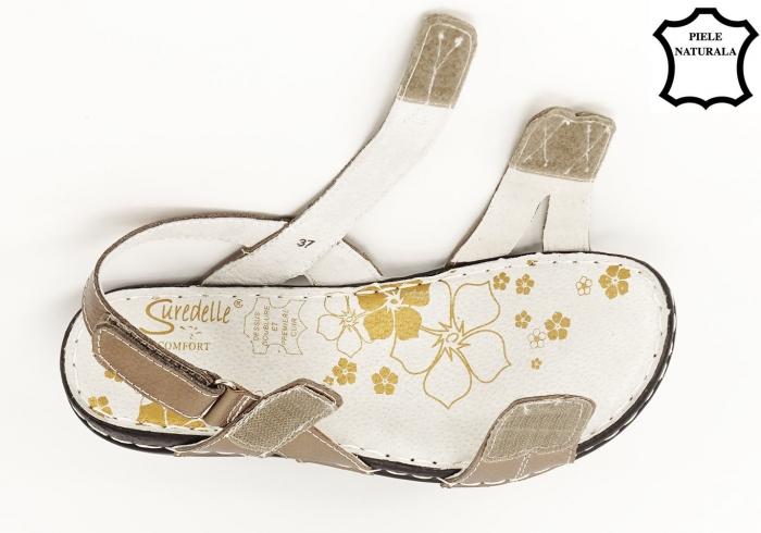 Sandale aurii cu talpa ortopedica din piele naturala Angi 4