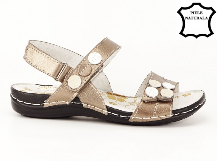 Sandale aurii cu talpa ortopedica din piele naturala Angi 0