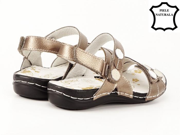 Sandale aurii cu talpa ortopedica din piele naturala Angi 5