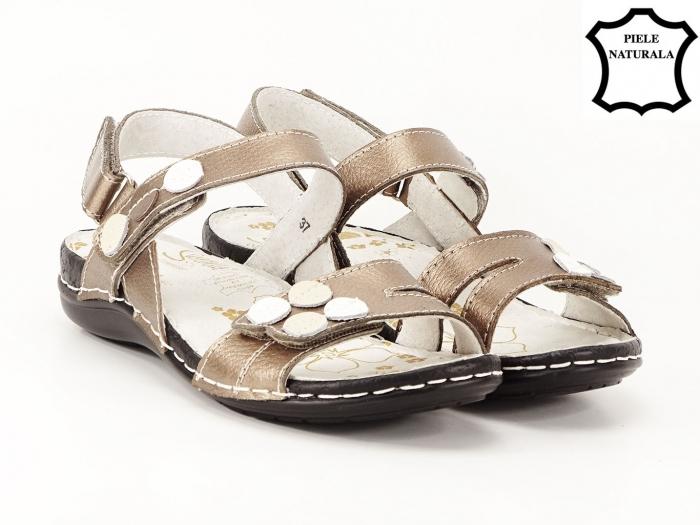 Sandale aurii cu talpa ortopedica din piele naturala Angi 1