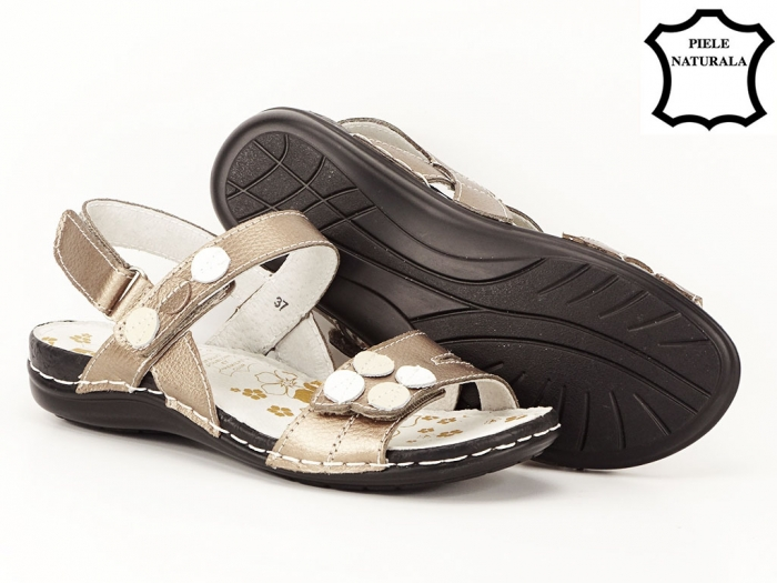 Sandale aurii cu talpa ortopedica din piele naturala Angi 3