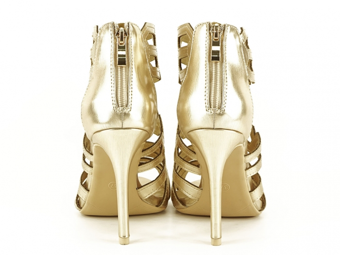 Sandale aurii elegante cu toc inalt Serena 4