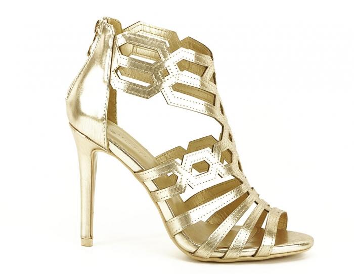 Sandale aurii elegante cu toc inalt Serena 1